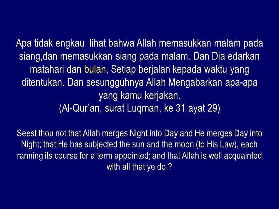Apa tidak engkau lihat bahwa Allah memasukkan malam pada siang,dan memasukkan siang pada malam. Dan Dia edarkan matahari dan bulan, Setiap berjalan ke