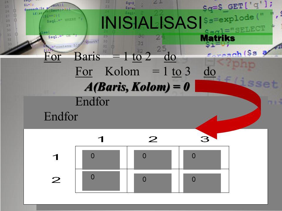 CONTOH PROSES Matriks  Mengisi elemen matriks dengan 0 (inisialisasi)  Mengisi elemen matriks dari piranti masukan  Mencetak elemen matriks ke pira