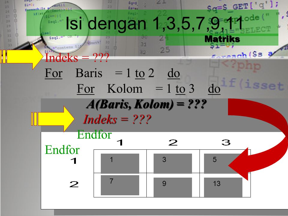 Isi dengan 1,2,3,4,5,6 Matriks Indeks = 1 For Baris = 1 to 2 do For Kolom = 1 to 3 do A(Baris, Kolom) = Indeks Indeks = Indeks + 1 Indeks = Indeks + 1