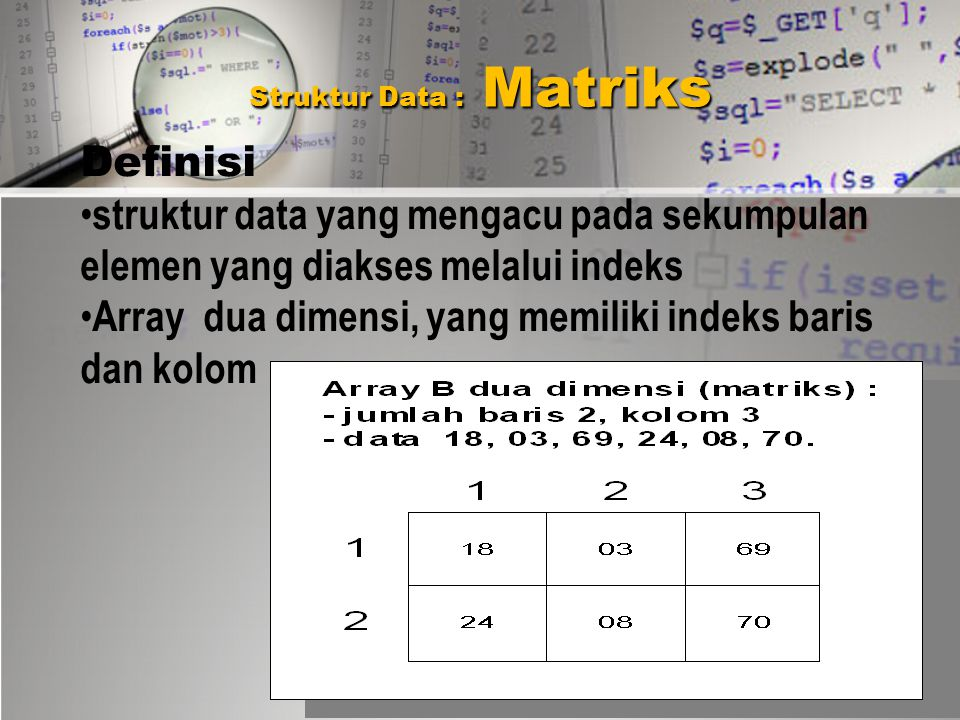 Array Multidimensi MATRIK