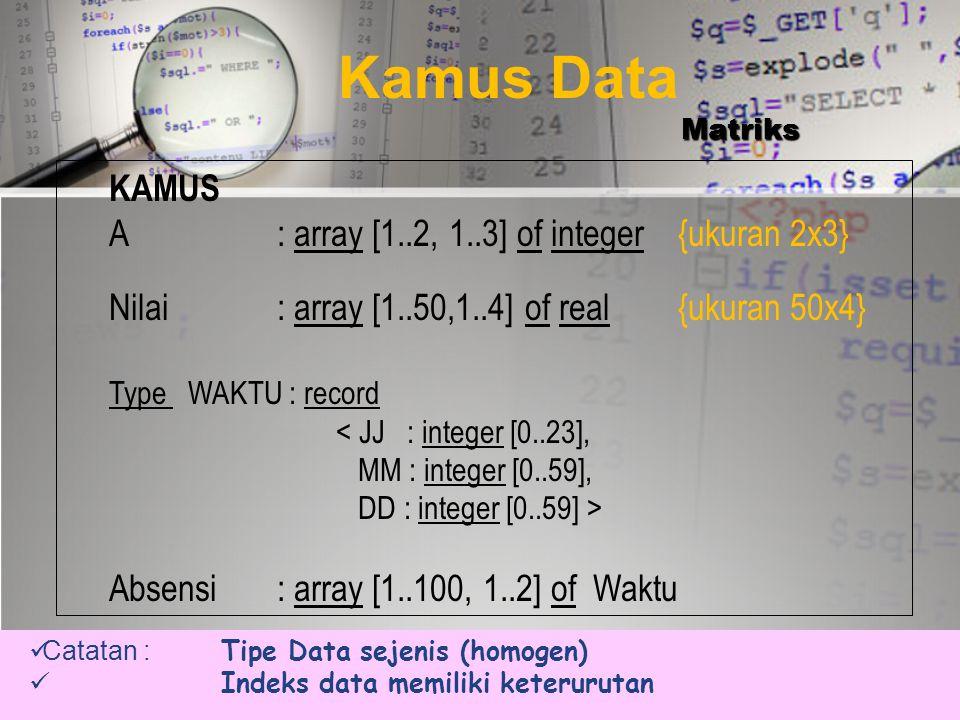 KELEBIHAN & KEKURANGAN •KELEBIHAN - Struktur Data paling mudah  - Memori ekonomis, bila semua elemen terisi  - Waktu akses sama ke setiap elemen  K
