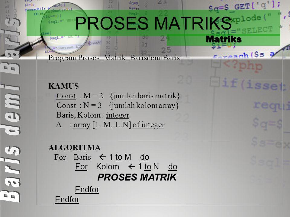 Proses Matriks 1.Elemen Matriks diproses Baris demi Baris 2.Elemen Matriks diproses Kolom demi Kolom