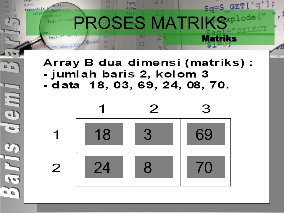 PROSES MATRIKS Matriks Program Proses_Matrik_BarisdemiBaris KAMUS Const : M = 2 {jumlah baris matrik} Const : N = 3 {jumlah kolom array} Baris, Kolom
