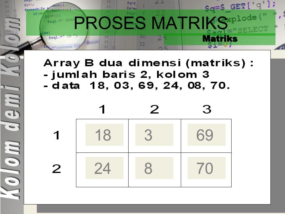 PROSES MATRIKS Matriks Program Proses_Matrik_KolomdemiKolom KAMUS Const : M = 2 {jumlah baris matrik} Const : N = 3 {jumlah kolom array} Baris, Kolom