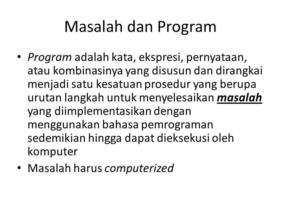 Masalah dan Program • Program adalah kata, ekspresi, pernyataan, atau kombinasinya yang disusun dan dirangkai menjadi satu kesatuan prosedur yang beru