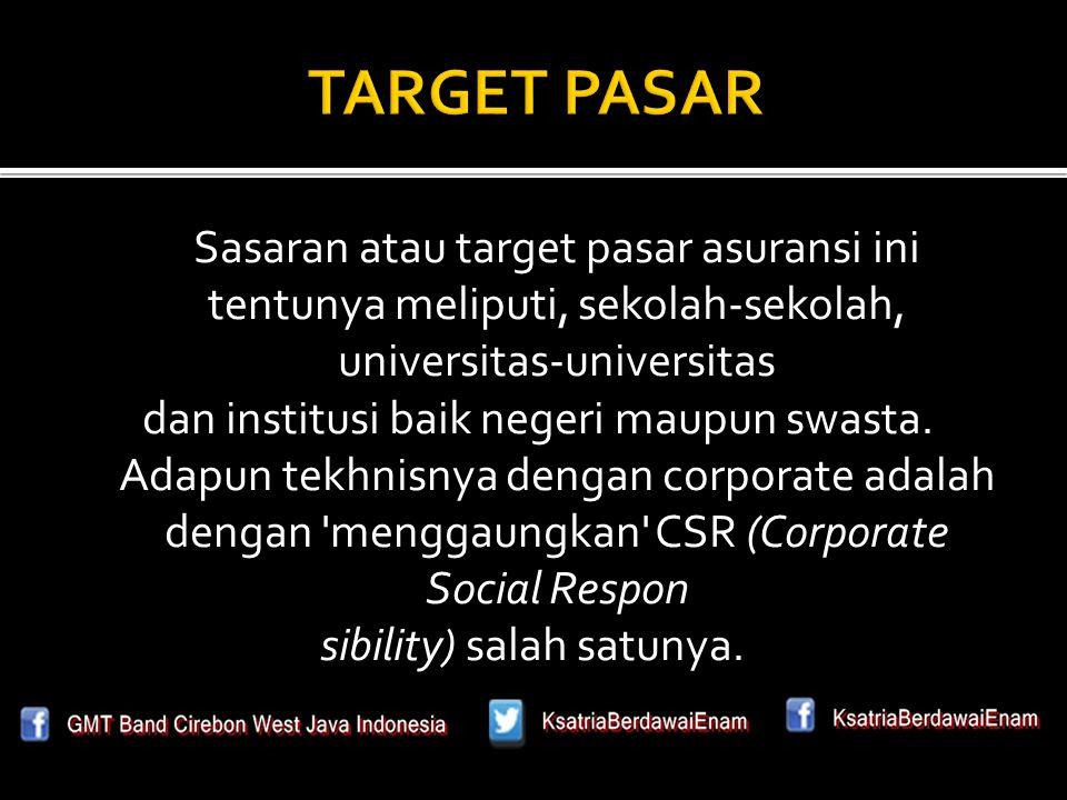 Sasaran atau target pasar asuransi ini tentunya meliputi, sekolah-sekolah, universitas-universitas dan institusi baik negeri maupun swasta.
