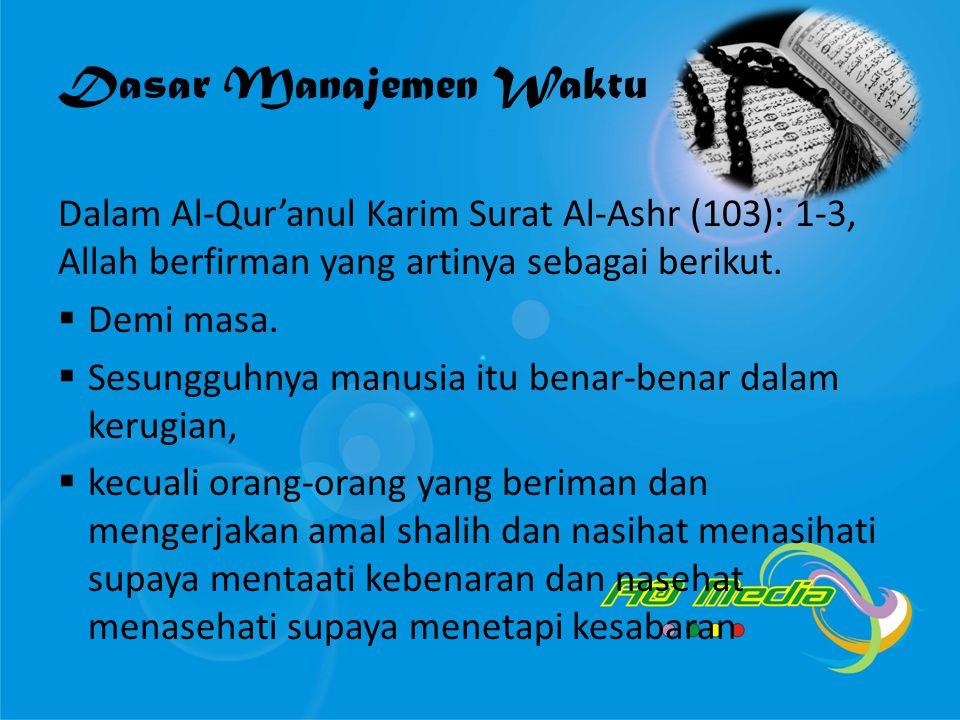 Dasar Manajemen Waktu Dalam Al-Qur'anul Karim Surat Al-Ashr (103): 1-3, Allah berfirman yang artinya sebagai berikut.  Demi masa.  Sesungguhnya manu