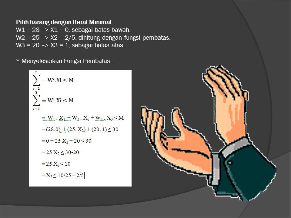 Pilih barang dengan Berat Minimal W1 = 28 –> X1 = 0, sebagai batas bawah. W2 = 25 –> X2 = 2/5, dihitung dengan fungsi pembatas. W3 = 20 –> X3 = 1, seb