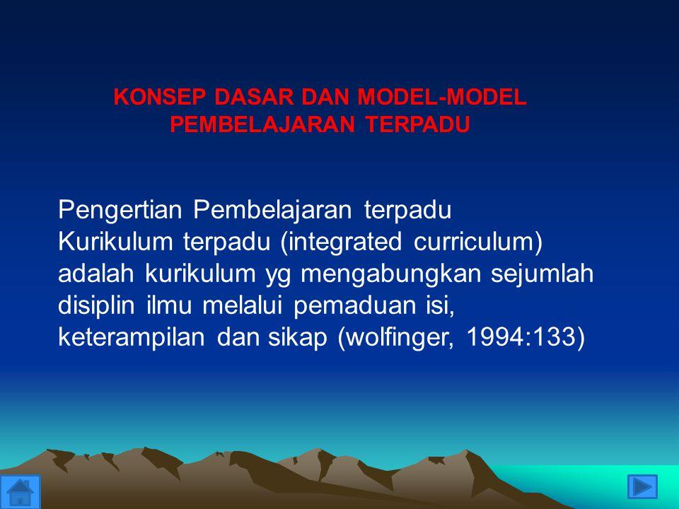 KONSEP DASAR DAN MODEL-MODEL PEMBELAJARAN TERPADU Pengertian Pembelajaran terpadu Kurikulum terpadu (integrated curriculum) adalah kurikulum yg mengab