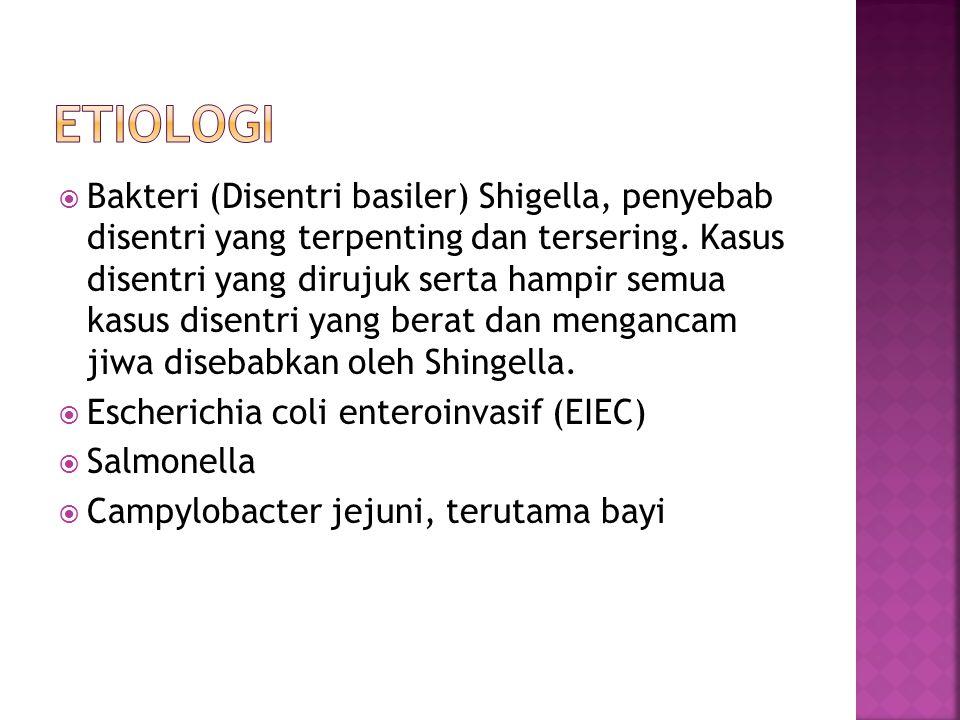  Bakteri (Disentri basiler) Shigella, penyebab disentri yang terpenting dan tersering.