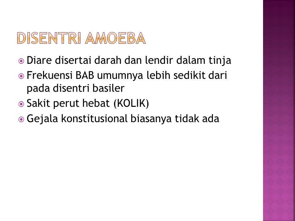 Disentri basiler  Stenosis  Peritonesis  Hemoroid  Neuritis perifer  Artritis Disentri Amoebica  Pendarahan usus  Perforasi  Ameboma  Striktura