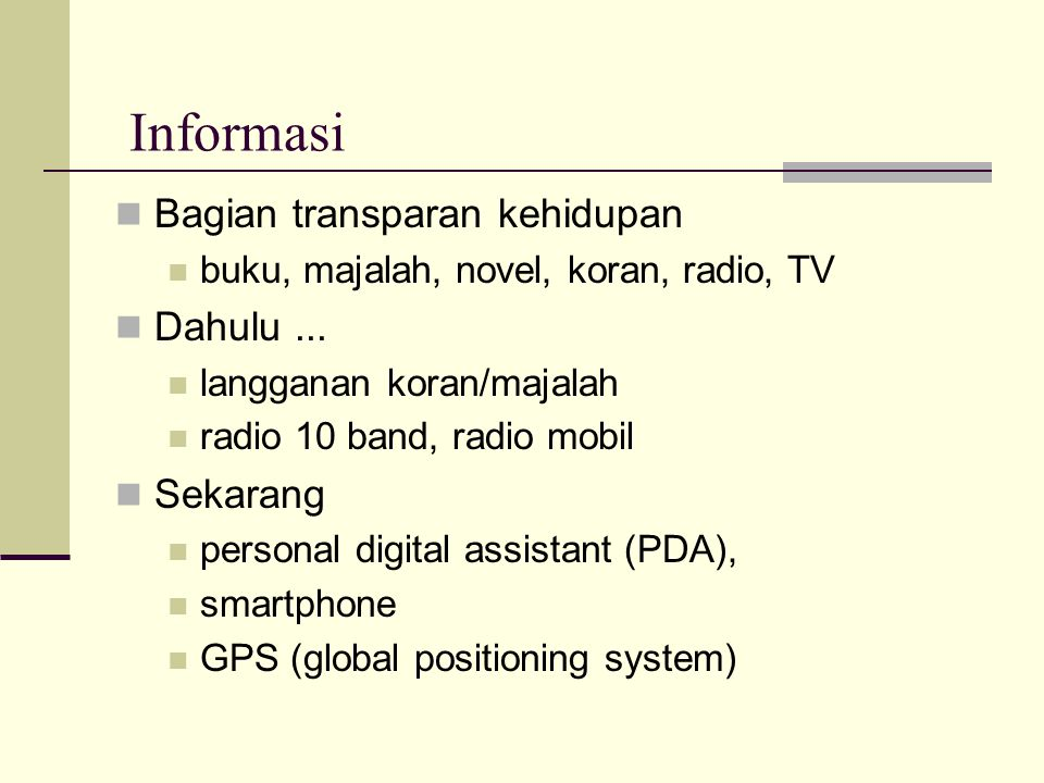Program untuk Internet  Browser: pencari informasi:  Internet Explorer, Firefox, Opera, Chrome  Mail client: penghubung surat elektronik  Outlook, Thunderbird, Pegasus  Online: Yahoo!, Google, Telkom  Protokol  world-wide web (www): 'browsing'  file transfer protocol (FTP): untuk download'  e-mail: surat elektronik