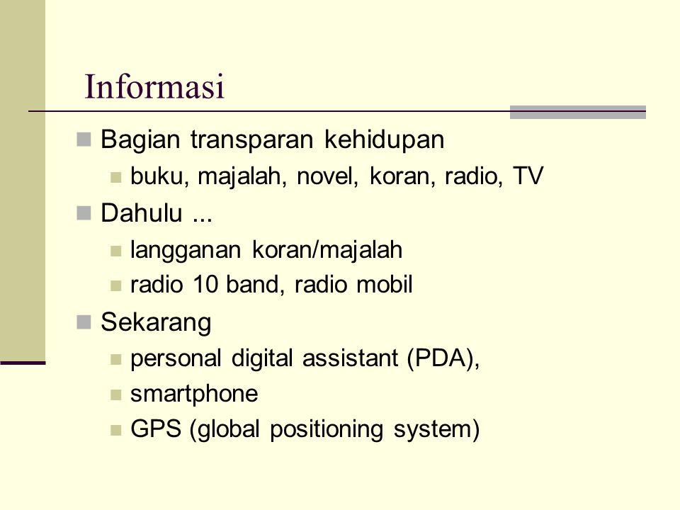 Informasi  Bagian transparan kehidupan  buku, majalah, novel, koran, radio, TV  Dahulu...  langganan koran/majalah  radio 10 band, radio mobil 