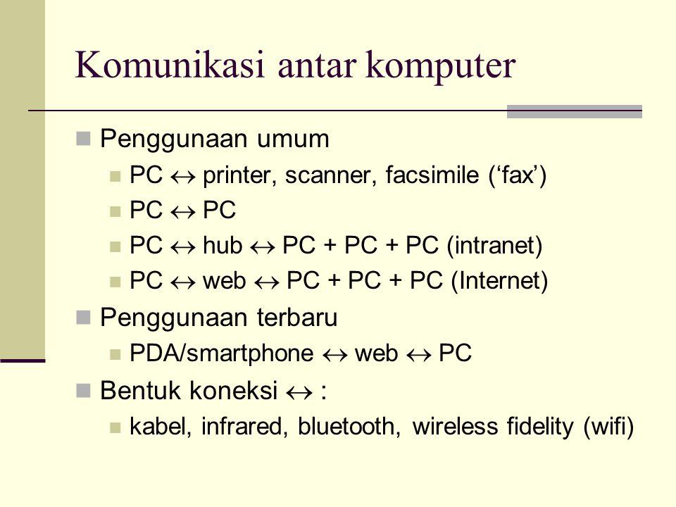 Komunikasi antar komputer  Penggunaan umum  PC  printer, scanner, facsimile ('fax')  PC  PC  PC  hub  PC + PC + PC (intranet)  PC  web  PC