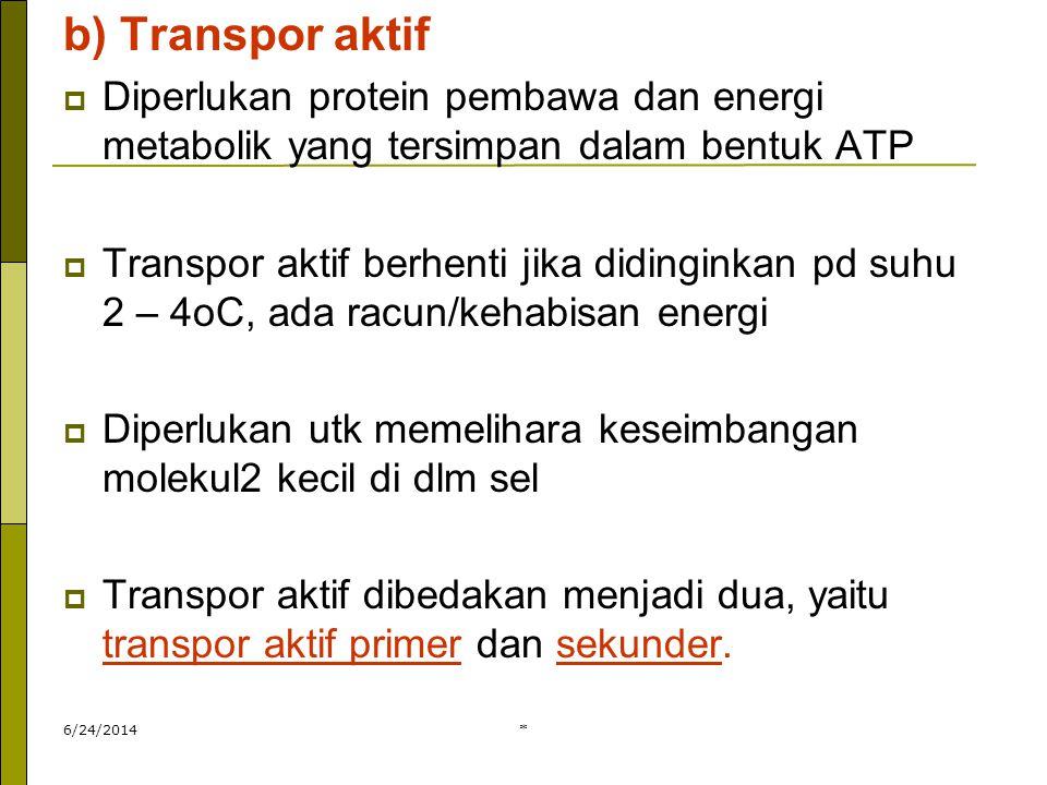 * b) Transpor aktif  Diperlukan protein pembawa dan energi metabolik yang tersimpan dalam bentuk ATP  Transpor aktif berhenti jika didinginkan pd su