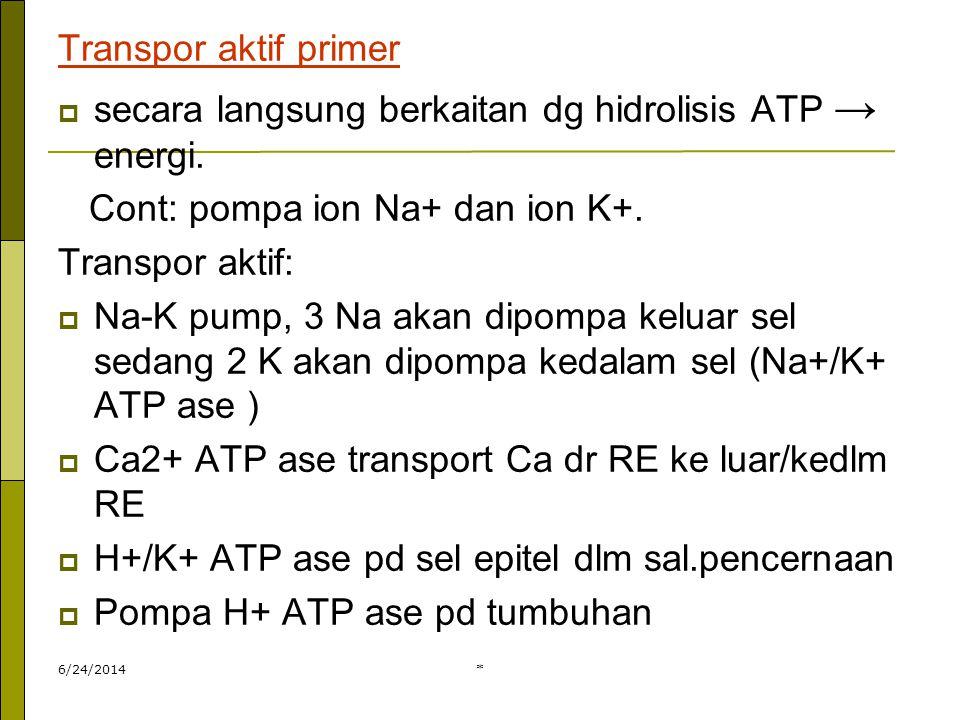 6/24/2014* Transpor aktif primer  secara langsung berkaitan dg hidrolisis ATP → energi. Cont: pompa ion Na+ dan ion K+. Transpor aktif:  Na-K pump,