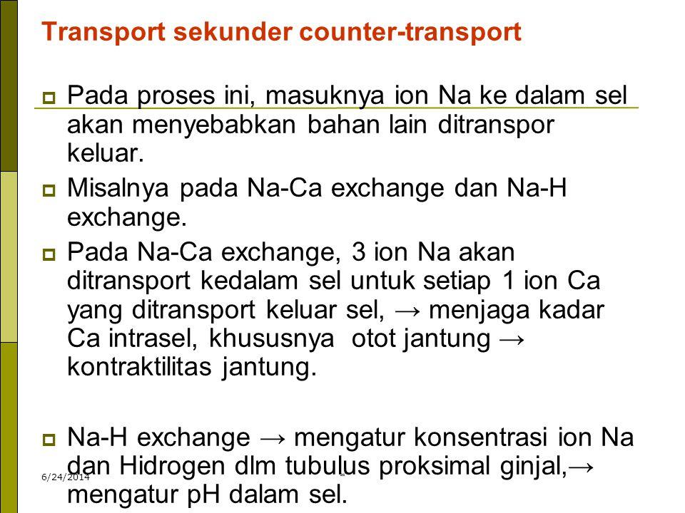 6/24/2014* Transport sekunder counter-transport  Pada proses ini, masuknya ion Na ke dalam sel akan menyebabkan bahan lain ditranspor keluar.  Misal