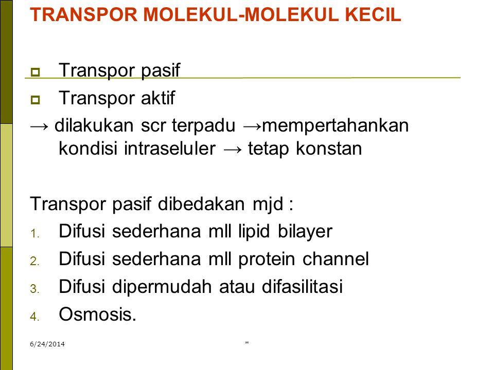 * TRANSPOR MOLEKUL-MOLEKUL BESAR  melibatkan pembentukan vakuola/ vesikel dg cara endositosis.