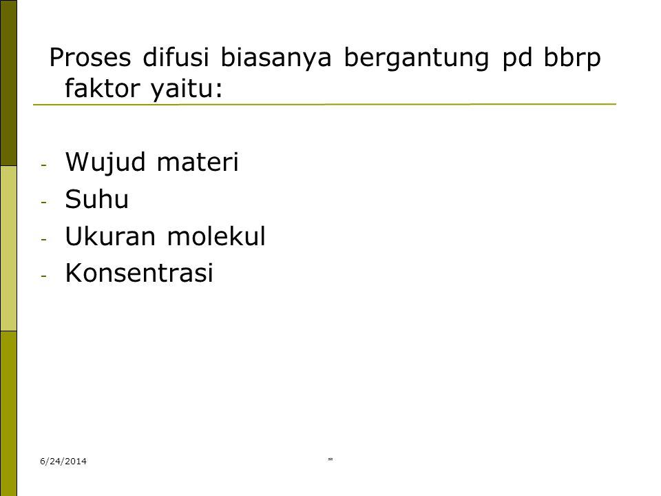 * Proses difusi biasanya bergantung pd bbrp faktor yaitu: - Wujud materi - Suhu - Ukuran molekul - Konsentrasi