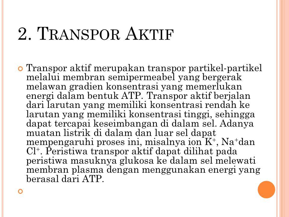 2. T RANSPOR A KTIF Transpor aktif merupakan transpor partikel-partikel melalui membran semipermeabel yang bergerak melawan gradien konsentrasi yang m