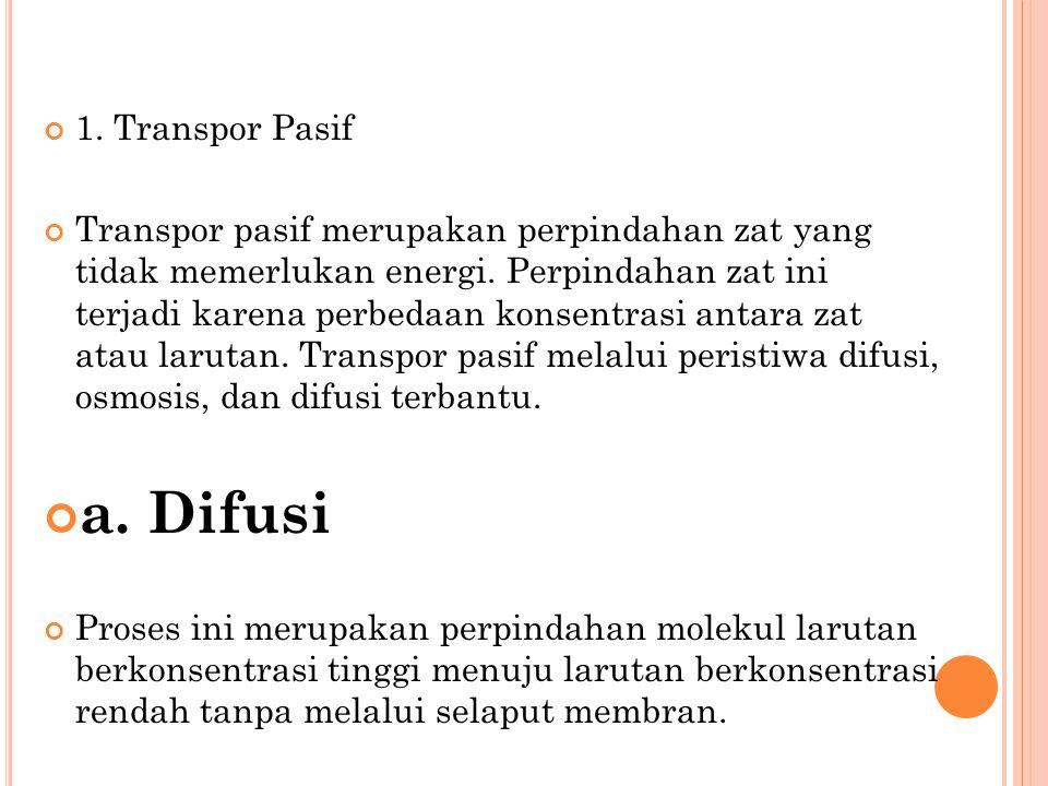 1.Transpor Pasif Transpor pasif merupakan perpindahan zat yang tidak memerlukan energi.