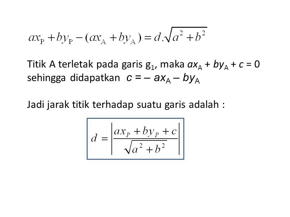 Titik A terletak pada garis g 1, maka ax A + by A + c = 0 sehingga didapatkan c = – ax A – by A Jadi jarak titik terhadap suatu garis adalah :