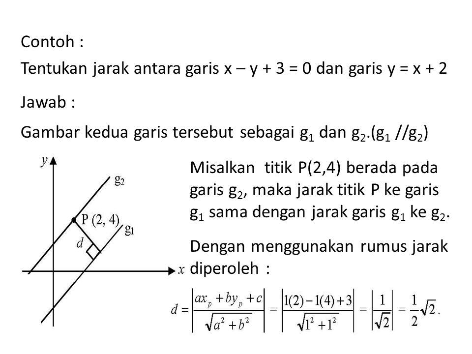 Contoh : Tentukan jarak antara garis x – y + 3 = 0 dan garis y = x + 2 Jawab : Gambar kedua garis tersebut sebagai g 1 dan g 2.(g 1 //g 2 ) Misalkan t