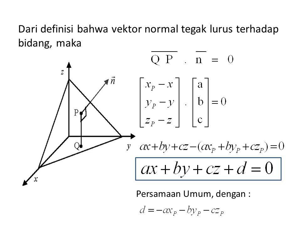 Dari definisi bahwa vektor normal tegak lurus terhadap bidang, maka Persamaan Umum, dengan :