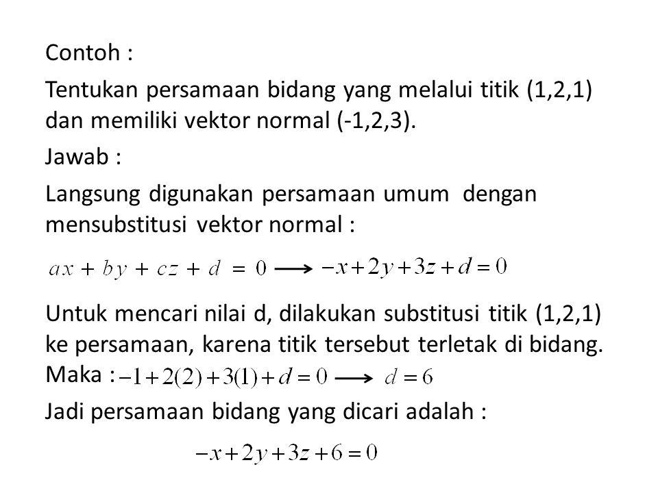 Contoh : Tentukan persamaan bidang yang melalui titik (1,2,1) dan memiliki vektor normal (-1,2,3). Jawab : Langsung digunakan persamaan umum dengan me