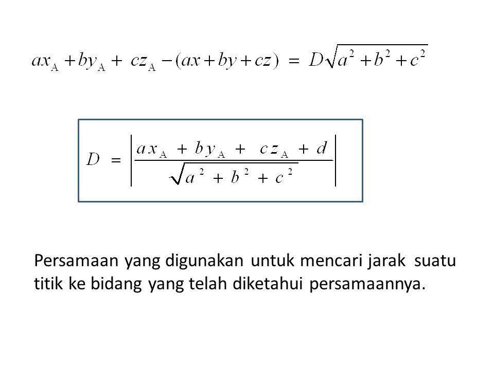 Persamaan yang digunakan untuk mencari jarak suatu titik ke bidang yang telah diketahui persamaannya.