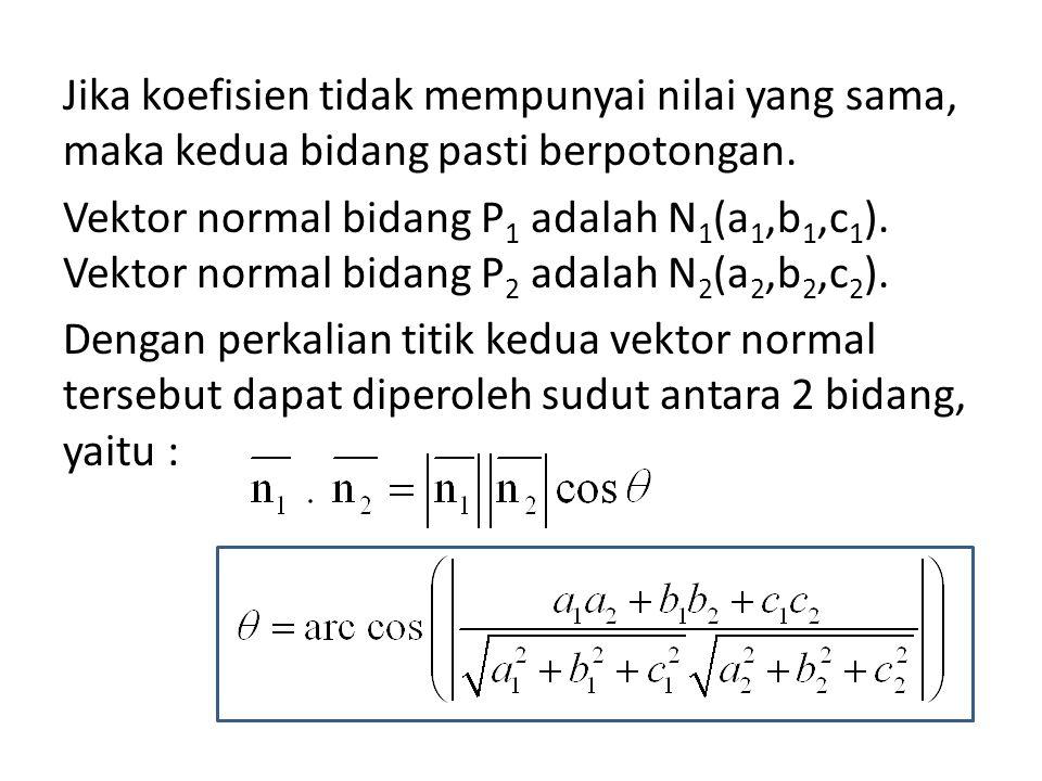 Jika koefisien tidak mempunyai nilai yang sama, maka kedua bidang pasti berpotongan. Vektor normal bidang P 1 adalah N 1 (a 1,b 1,c 1 ). Vektor normal