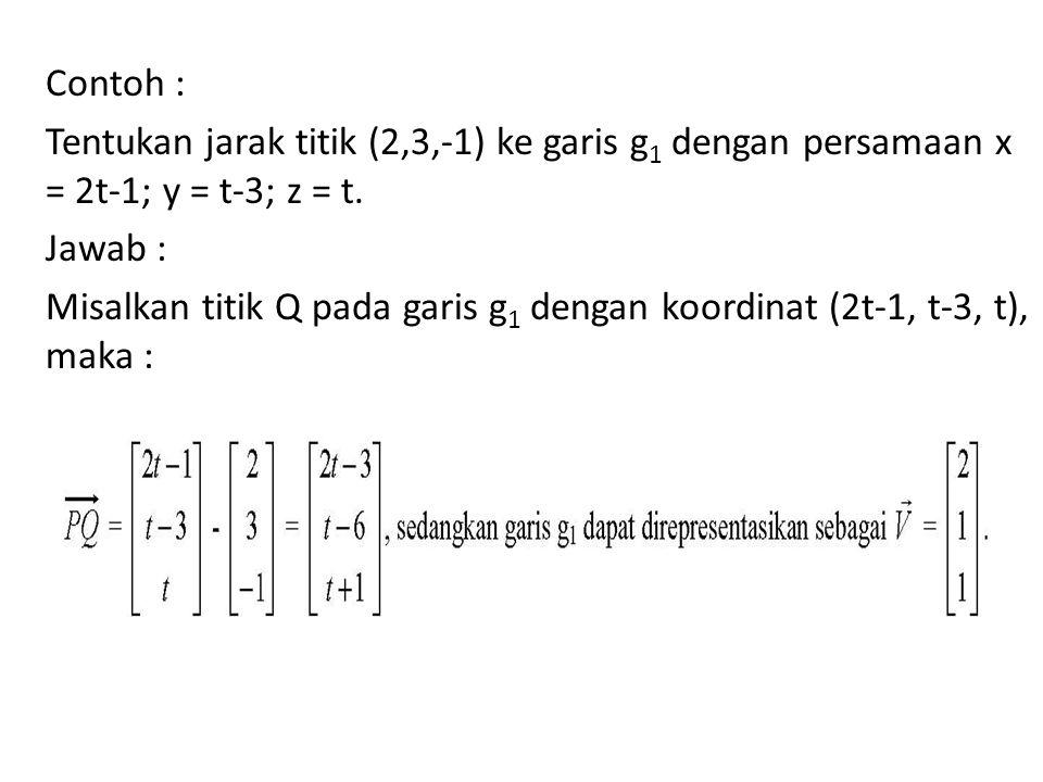 Contoh : Tentukan jarak titik (2,3,-1) ke garis g 1 dengan persamaan x = 2t-1; y = t-3; z = t. Jawab : Misalkan titik Q pada garis g 1 dengan koordina