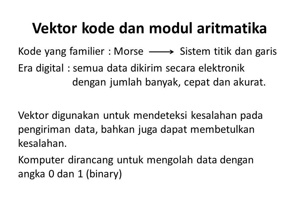Vektor kode dan modul aritmatika Kode yang familier : Morse Era digital : semua data dikirim secara elektronik dengan jumlah banyak, cepat dan akurat.