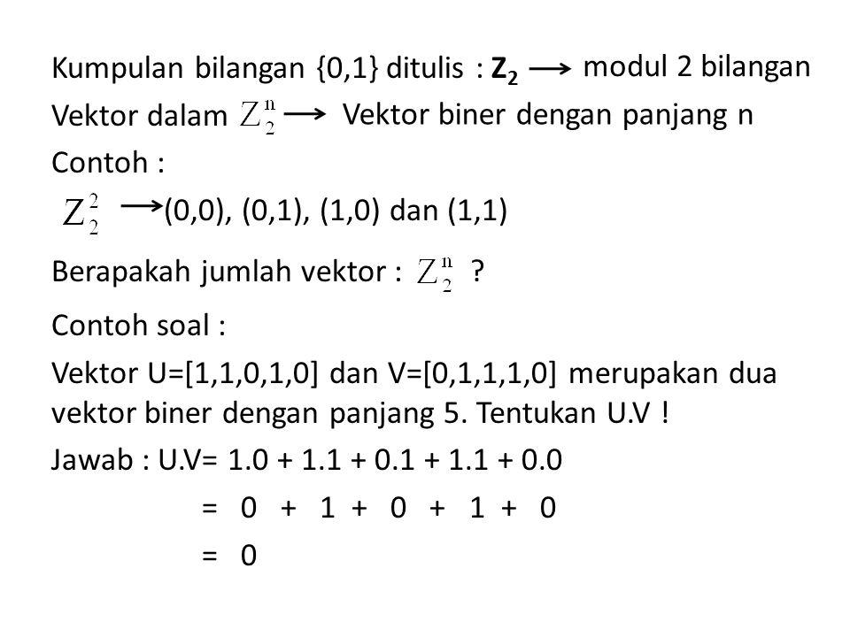 Kumpulan bilangan {0,1} ditulis : Z 2 Vektor dalam Contoh : (0,0), (0,1), (1,0) dan (1,1) Berapakah jumlah vektor : ? Contoh soal : Vektor U=[1,1,0,1,