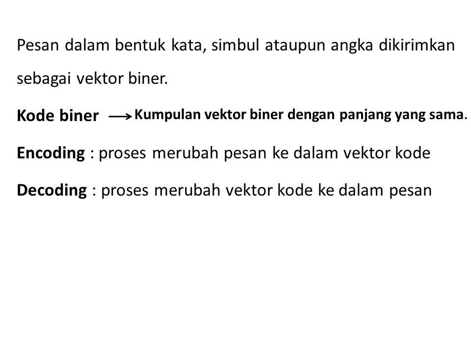 Pesan dalam bentuk kata, simbul ataupun angka dikirimkan sebagai vektor biner. Kode biner Encoding : proses merubah pesan ke dalam vektor kode Decodin