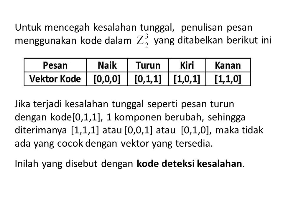 Untuk mencegah kesalahan tunggal, penulisan pesan menggunakan kode dalam Jika terjadi kesalahan tunggal seperti pesan turun dengan kode[0,1,1], 1 komp