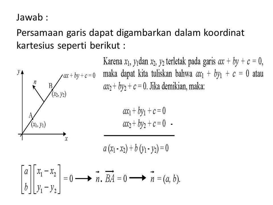 Jawab : Persamaan garis dapat digambarkan dalam koordinat kartesius seperti berikut :