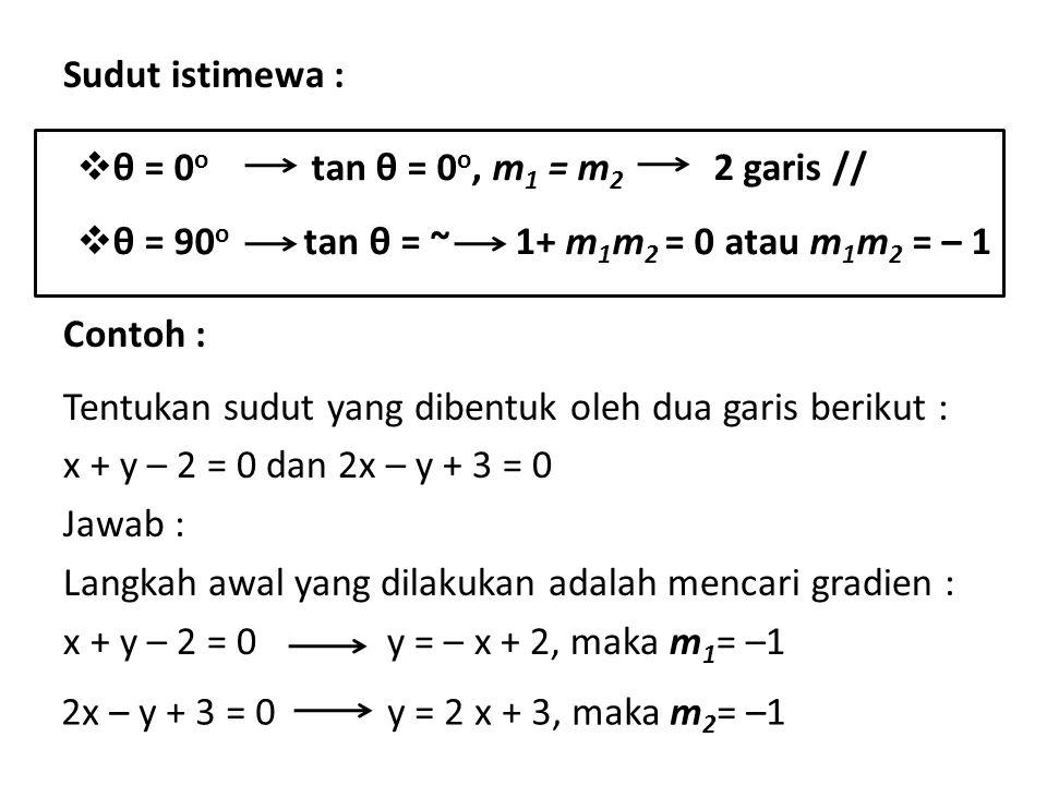 Sudut istimewa : Contoh : Tentukan sudut yang dibentuk oleh dua garis berikut : x + y – 2 = 0 dan 2x – y + 3 = 0 Jawab : Langkah awal yang dilakukan a