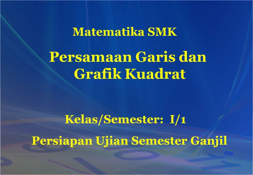 Matematika SMK Persiapan Ujian Semester Ganjil Kelas/Semester: I/1 Persamaan Garis dan Grafik Kuadrat