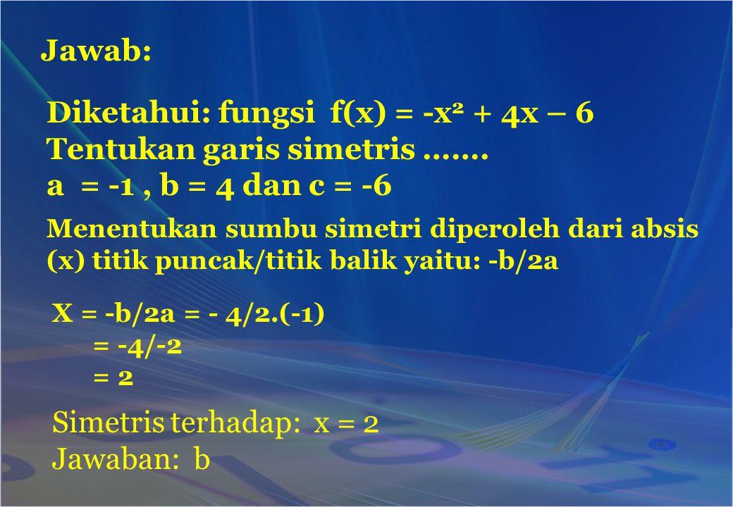 Jawab: Diketahui: fungsi f(x) = -x 2 + 4x – 6 Tentukan garis simetris ……. a = -1, b = 4 dan c = -6 Menentukan sumbu simetri diperoleh dari absis (x) t