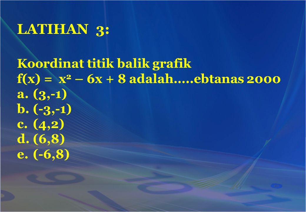 Koordinat titik balik grafik f(x) = x 2 – 6x + 8 adalah…..ebtanas 2000 a.(3,-1) b.(-3,-1) c.(4,2) d.(6,8) e.(-6,8) LATIHAN 3:
