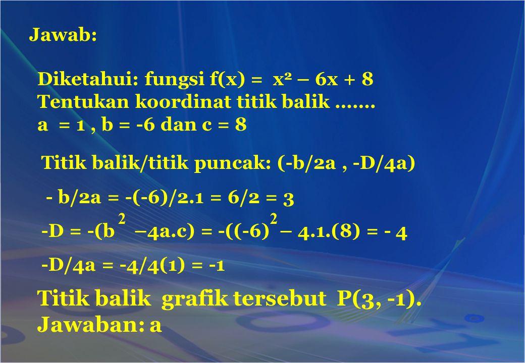 Jawab: Diketahui: fungsi f(x) = x 2 – 6x + 8 Tentukan koordinat titik balik ……. a = 1, b = -6 dan c = 8 Titik balik/titik puncak: (-b/2a, -D/4a) - b/2