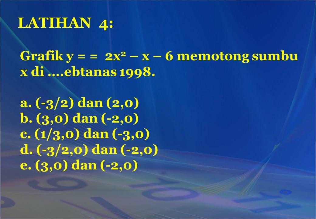 Grafik y = = 2x 2 – x – 6 memotong sumbu x di ….ebtanas 1998. a. (-3/2) dan (2,0) b. (3,0) dan (-2,0) c. (1/3,0) dan (-3,0) d. (-3/2,0) dan (-2,0) e.
