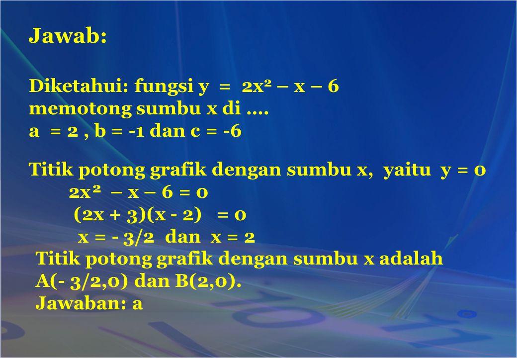 Jawab: Diketahui: fungsi y = 2x 2 – x – 6 memotong sumbu x di …. a = 2, b = -1 dan c = -6 Titik potong grafik dengan sumbu x, yaitu y = 0 2x – x – 6 =