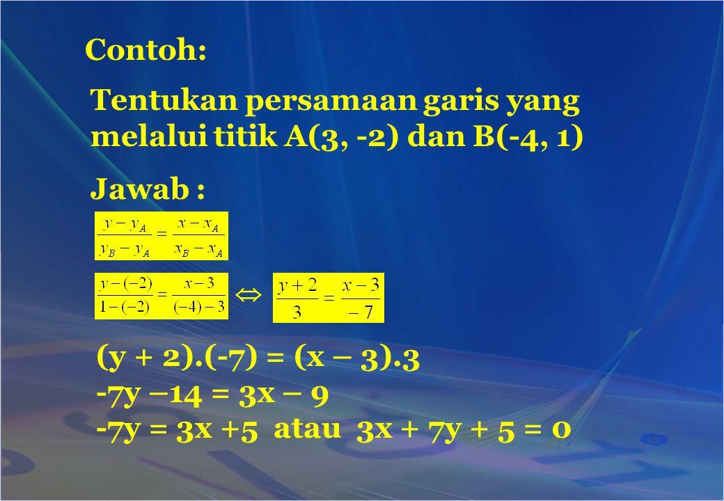 Tentukan persamaan garis yang melalui titik A(3, -2) dan B(-4, 1) Contoh: (y + 2).(-7) = (x – 3).3 -7y –14 = 3x – 9 -7y = 3x +5 atau 3x + 7y + 5 = 0 J