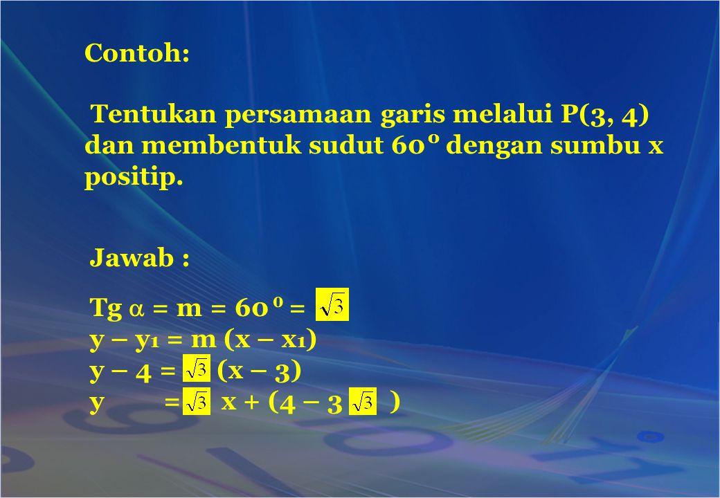 Tentukan persamaan garis melalui P(3, 4) dan membentuk sudut 60 dengan sumbu x positip. Contoh: Jawab : Tg  = m = 60 = y – y 1 = m (x – x 1 ) y – 4 =