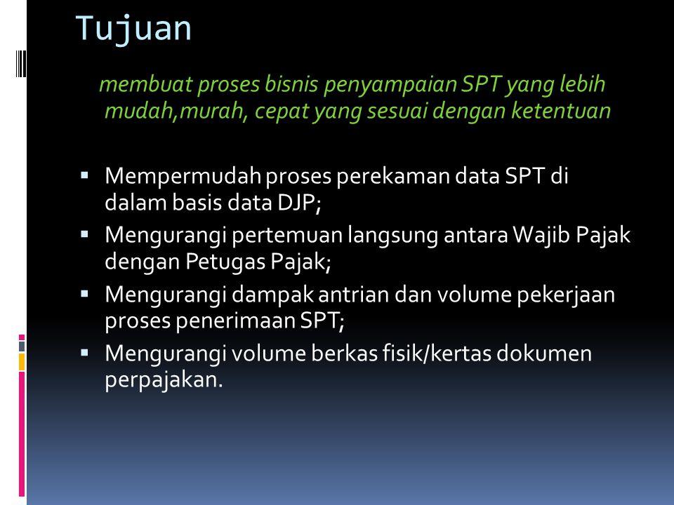 Tujuan membuat proses bisnis penyampaian SPT yang lebih mudah,murah, cepat yang sesuai dengan ketentuan  Mempermudah proses perekaman data SPT di dal
