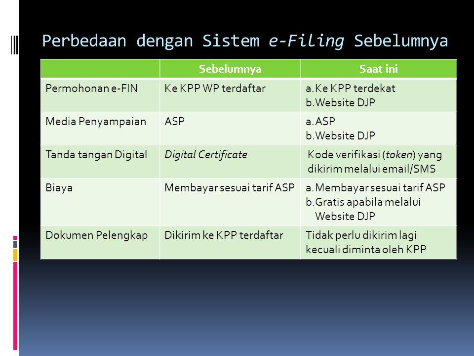 Perbedaan dengan Sistem e-Filing Sebelumnya SebelumnyaSaat ini Permohonan e-FINKe KPP WP terdaftara.Ke KPP terdekat b.Website DJP Media PenyampaianASP