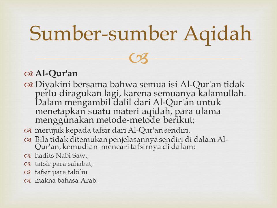   Al-Qur'an  Diyakini bersama bahwa semua isi Al-Qur'an tidak perlu diragukan lagi, karena semuanya kalamullah. Dalam mengambil dalil dari Al-Qur'a