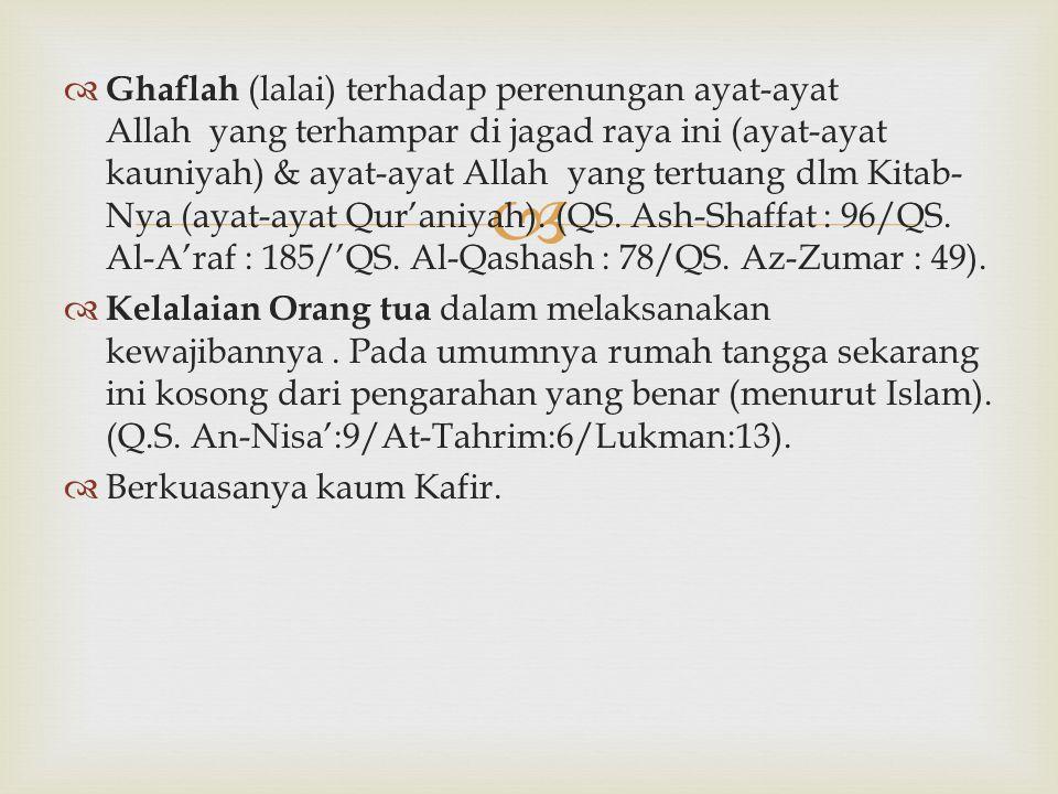   Ghaflah (lalai) terhadap perenungan ayat-ayat Allah yang terhampar di jagad raya ini (ayat-ayat kauniyah) & ayat-ayat Allah yang tertuang dlm Kita